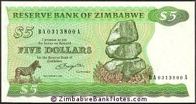 Zimbabwe 5 Dollars Bank Note P2